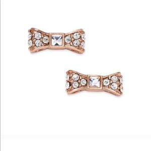 KATE SPADE Pave Rose Gold Ready Set Bow Earrings